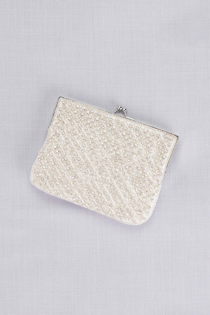 18ce649bffd2 Crystal Beaded Lattice Clutch
