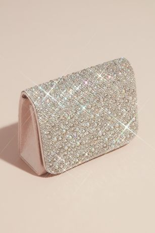Iridescent Crystal Embellished Crossbody Clutch