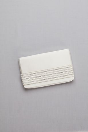 Satin Foldover Clutch with Embellished Strap