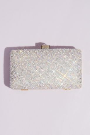 Crystal and Pearl Hinge Clutch with Gem Clasp