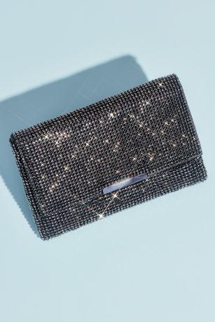 Crystal Studded Mesh Clutch with Foldover