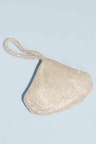 Crystal Mesh Wristlet Pouch Evening Bag