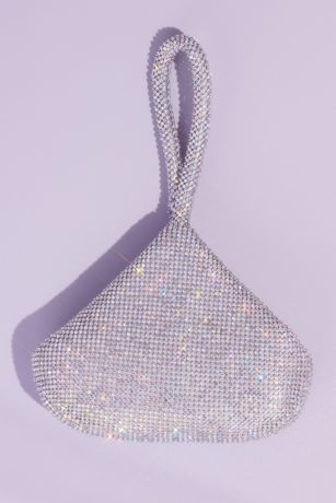 Crystal Mesh Wristlet Pouch Evening Bag