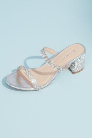 Bamboo Grey Heeled Sandals (Crystal Embellished Slide Sandals with Block Heel)