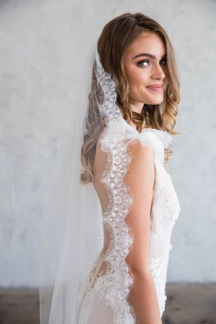 Silk English Tulle Chapel Veil with Eyelash Lace