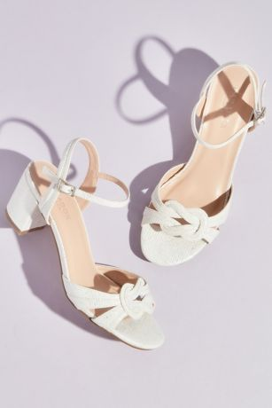 Pink Paradox Grey;Ivory Heeled Sandals (Metallic Block Heel Sandals with Knot Detail)