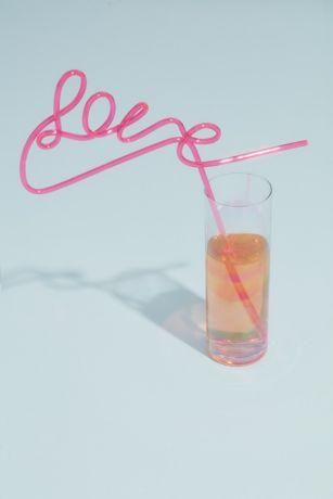 Neon Pink Love Straw