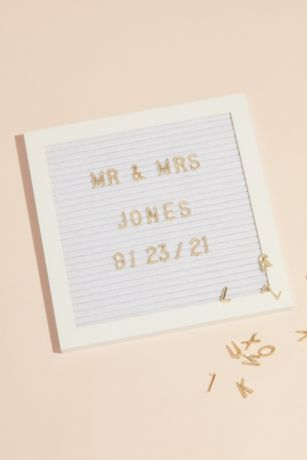 White Square Letter Board with Gold Letters