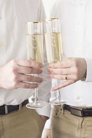 Hubby and Hubby Gold Rim Champagne Flutes