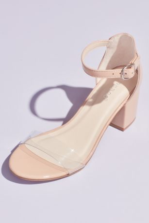 Bamboo Beige Heeled Sandals (Clear Strap Patent Block Heel Sandals)