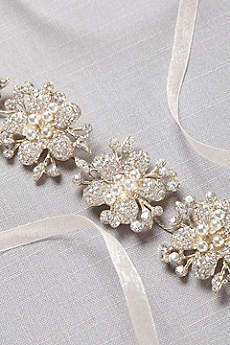 Pearl and Pave Crystal Flower Sash