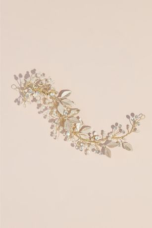 Enameled Leaves Pearl and Crystal Floral Clip