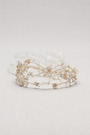 Pearl and Crystal Floral Vines Tie-Back Headband