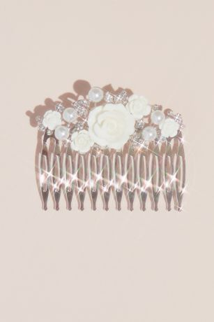 "Ceramic Flower, Pearl and Crystal Girls"" Comb"
