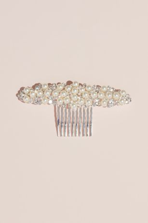 Wide Pearl and Crystal Comb