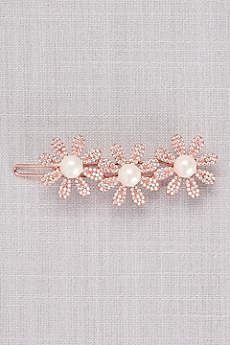 Crystal and Pearl Triple Flower Hair Clip