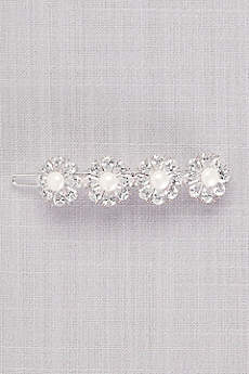 Cubic Zirconia and Pearl Quad Flower Hair Clip