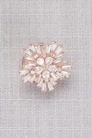 Cubic Zirconia Flower Spin Pin Set