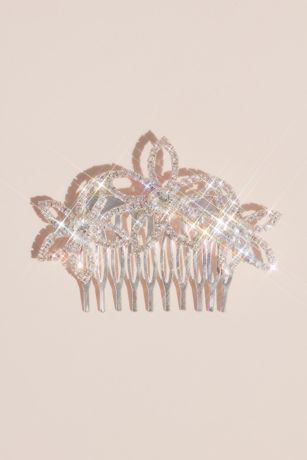 """Pave Crystal Outlined Flower Girls"""" Comb"""