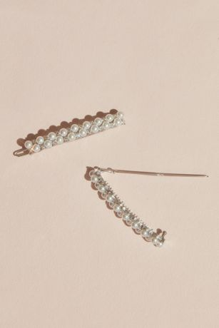 Stacked Pearl and Crystal Barrettes