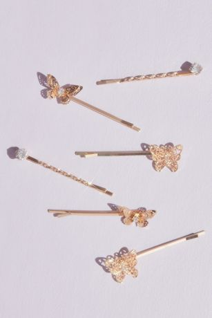 Butterfly and Crystal Bobby Pin Set