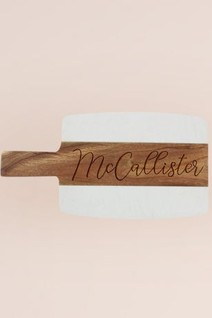Personalized Acacia Wood and Marble Cheese Board