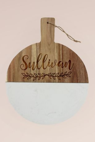 Personalized Round Wood and Marble Cheese Board