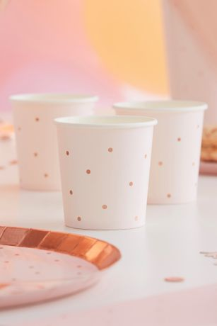 Rose Gold Foil Dotted Paper Shot Cups