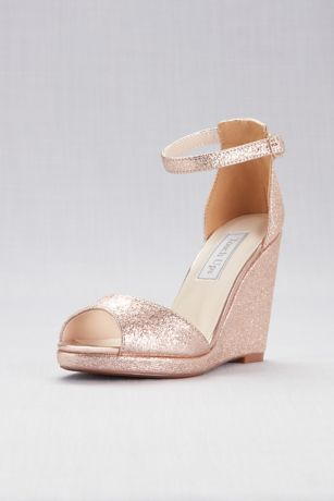 Touch Ups Beige;Grey;Pink (Ankle-Strap Peep-Toe Wedges)