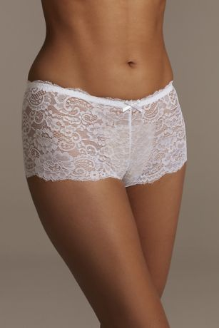 Floral Lace Scalloped Edge Boyshort with Bow