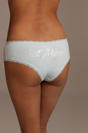 Lace Trim Glitter Print Just Married Hipster
