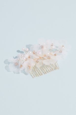 Organza Flower and Faux Pearl Comb