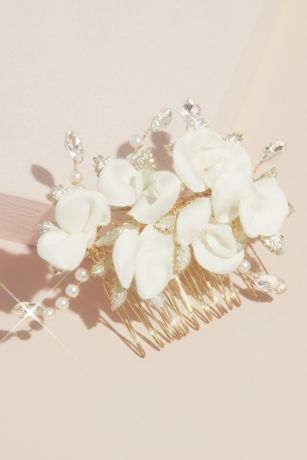 Fabric Petal Floral Comb with Crystals and Pearls