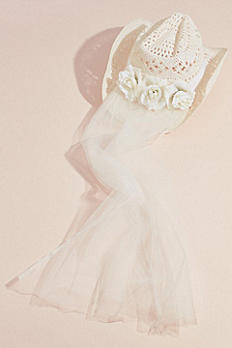 Woven Bride Cowboy Hat with Veil HT37983