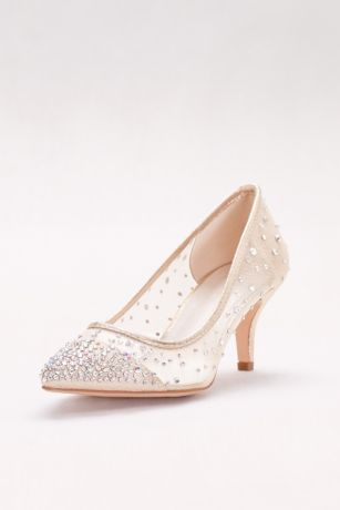 David's Bridal Beige Pumps (Mid-Heel Mesh Pointed-Toe Pumps)