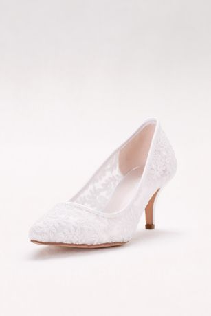 David's Bridal White Pumps (Embroidered Mesh Pointed-Toe Pumps)