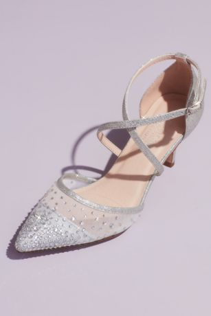 "Blossom Grey Heeled Sandals (Glitter D""Orsay Crisscross Embellished Heels)"
