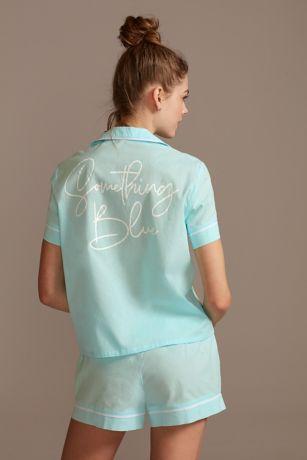 Something Blue Button Down Pajama Shorts Set