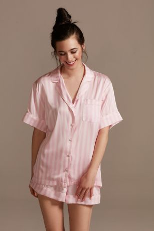 Striped Button-Front Pajama Shorts Set