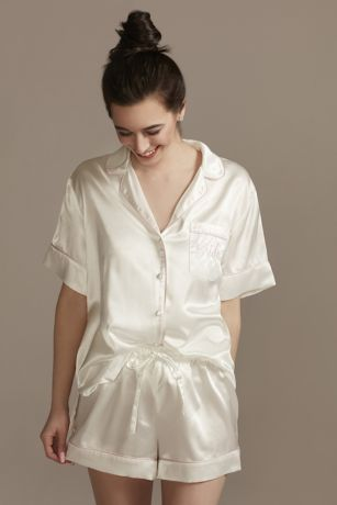 Embroidered Bride Pajama Shorts Set