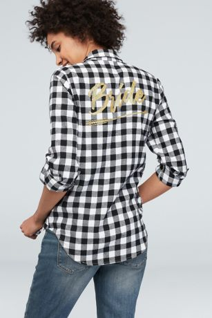 Flannel Check Bride Button-Down Sleep Shirt