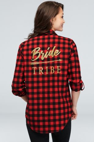 Flannel Check Bride Tribe Button-Down Sleep Shirt