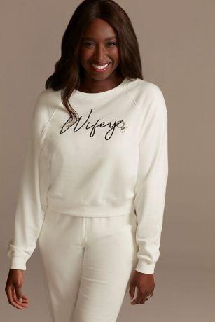 Cropped Wifey Ivory Sweatshirt