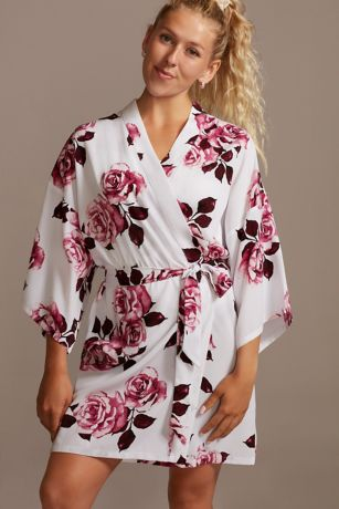 Wine Roses Floral Robe