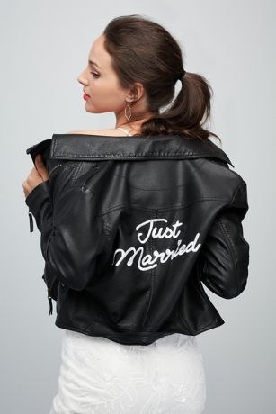 Just Married Embroidered Vegan Leather Moto Jacket