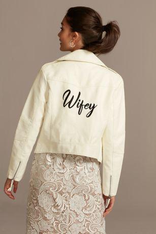 Wifey Script Moto-Style Vegan Leather Jacket