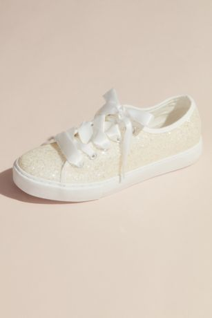 DB Studio White Sneakers and Casual (Glittery Sneakers with Organza Laces)