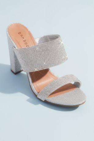 Bamboo Grey Heeled Sandals (Shimmer Metallic High Block Heel Mule Sandals)