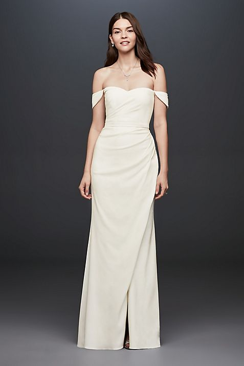 Draped Off-The-Shoulder Crepe Sheath Gown   David\'s Bridal