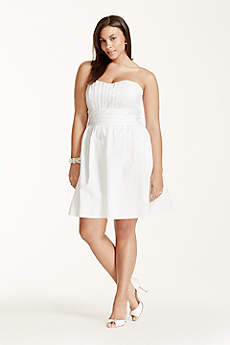 Short Strapless Cotton Sateen Dress